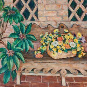 Flora L. Thornton's Flower Basket on Bench