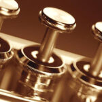 Extreme close-up of trumpet keys