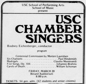 A Daily Trojan advertisement for the 1981 USC Chamber Singers centennial concert.