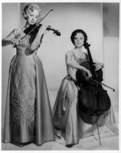 Alice, left, and Eleonore Schoenfeld were internationally renowned classical performers who toured the world's great music halls as the Schoenfeld Duo. (Photo/Courtesy of Alice Schoenfeld) - See more at: http://news.usc.edu/#!/article/43130/schoenfelds-gift-of-music/