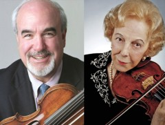 Incoming Robert Mann Chair in Strings and Chamber Music Glenn Dicterow (left) and USC Professor Emerita Alice Schoenfeld (right)