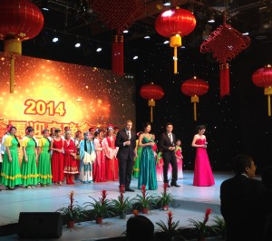 Zhao, fourth from right, on stage during CTTV's Chinese New Year Gala.