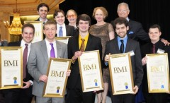USC Doctoral student Daniel Temkin (top left) was one of two USC Thornton Composition students honored at the BMI Student Composer Awards.