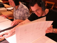 "Austin Wintory during recording sessions for video game ""The Banner Saga."" (Photo: Scott Rosenkrantz)"