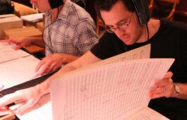 "Austin Wintory during recording sessions for video game ""The Banner Saga."" (Photo: Scott Rosenkrantz)"