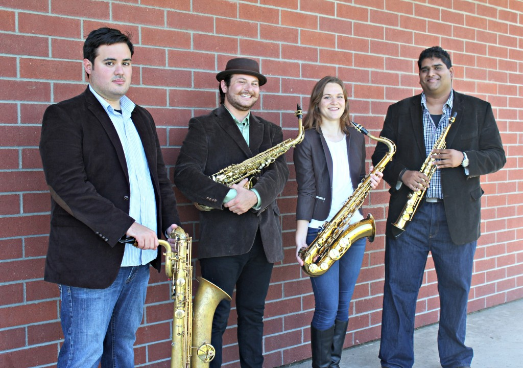 Fiero saxophone quartet is comprised of USC Thornton students (L to R): John Hallberg, Isaac Lopez, Emma Reinhart and Andrew Harrison. (Photo: Randall Harrison)