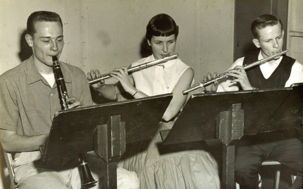 Harlow, Mee and Welch USC Band room rehearsal 1953