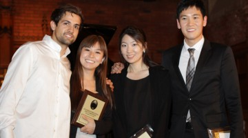 USC Thornton students swept the Budapest Concert Division. (l-r) Jacopo Giacopuzzi, 3rd prize;  Yuxi Qin, 4th prize;  Esther Lee, 2nd prize;  Somang Jeagal, 1st prize.