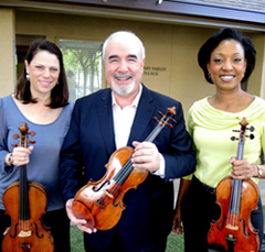 USC Thornton faculty Karen Dreyfus and Glenn Dicterow with Music Kitchen founder Kelly Hall-Thompkins. (Photo: George McQuade III)