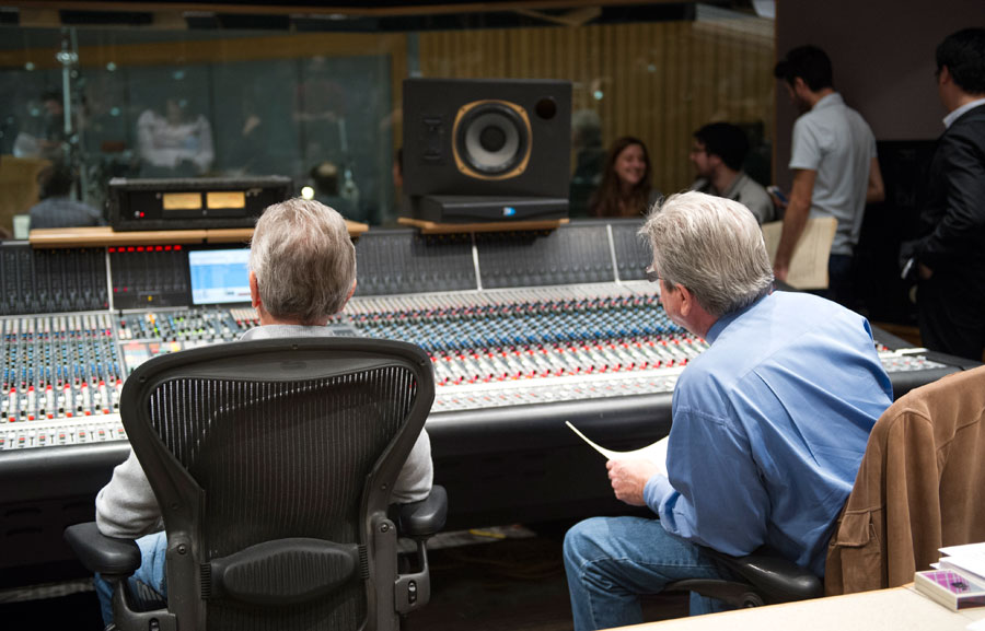 Al Schmitt and SMPTV director Daniel Carlin observe the USC Thornton Jazz Orchestra from the control room  (Photo/Chandler Golan)