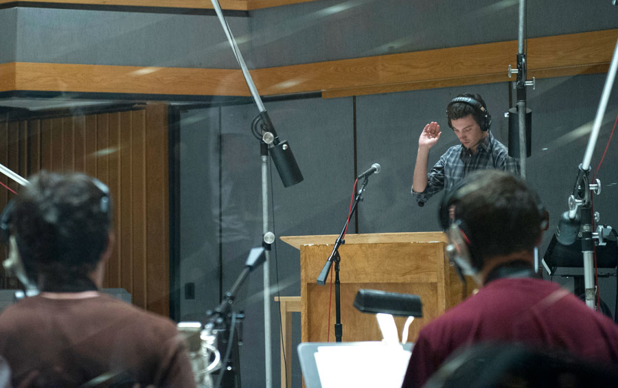 SMPTV student Toby Sherriff conducts the USC Thornton Jazz Orchestra in a recording session at Capital Records 'Studio A'  (Photo/Chandler Golan)