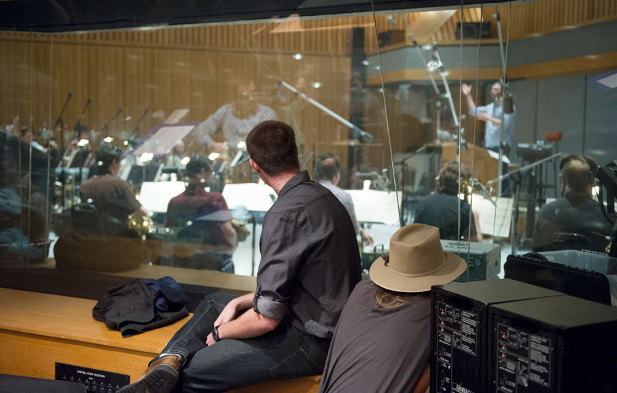 SMPTV students look on as the USC Thornton Jazz Orchestra records at Capital Records 'Studio A'   (Photo/Chandler Golan)