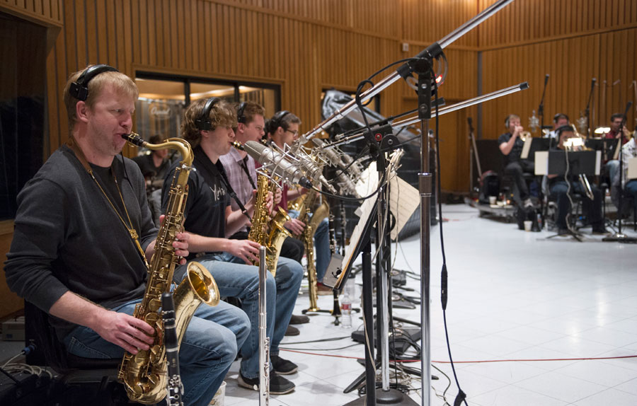 The USC Thornton Jazz Orchestra recording at Capital Records 'Studio A'   (Photo/Chandler Golan)
