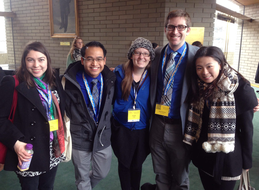 A number of Thornton alumni gathered at the conference, including (left to right) Anna O'Connell, Jason Sabino, Annika Linde, Samuel Barbara, and current DMA student Jenny Wong.
