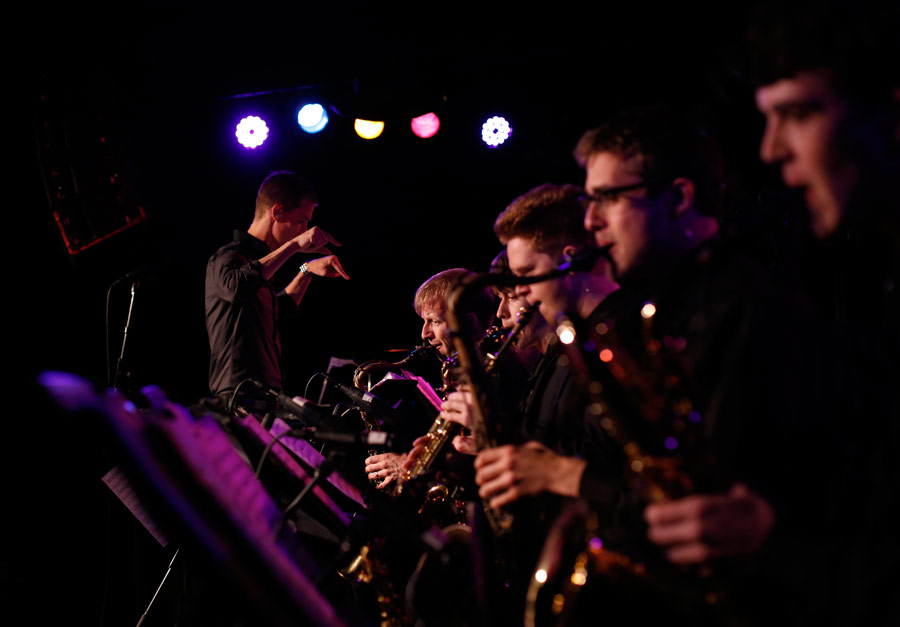 Jazz Studies DMA candidate Greg Johnson conducts the Thornton Jazz Orchestra at Ground Zero Performance Café. (Photo/Danny Wirick)