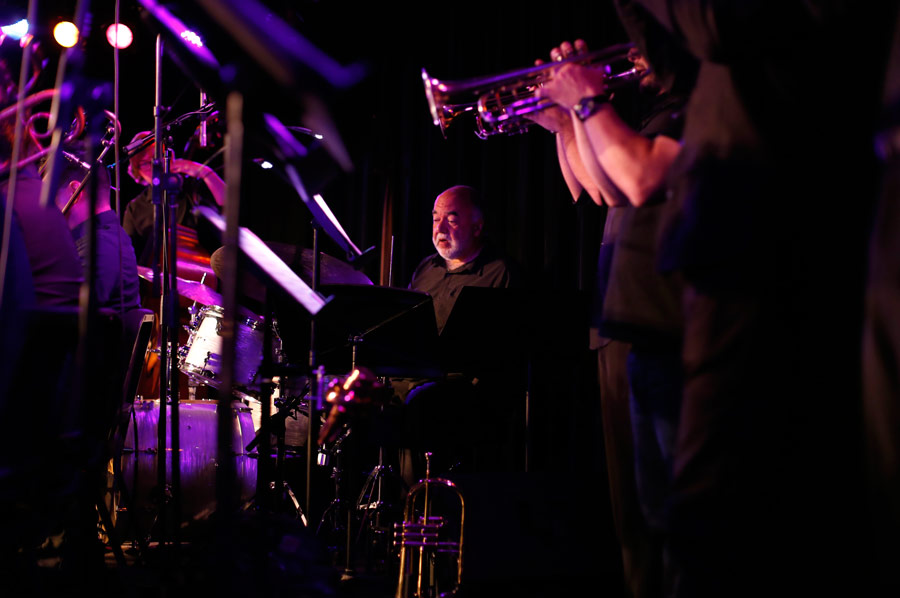 Peter Erskine, Director of USC Thornton Drumset Studies, sat in with the TJO. (Photo/Danny Wirick)