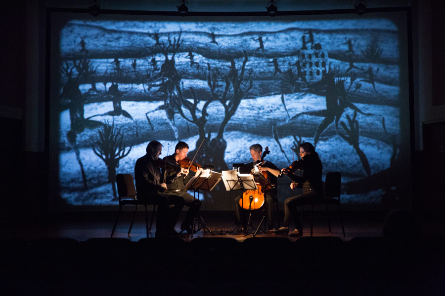 "The Penderecki String Quartet performs Marek Zebrowski's ""Music for David"" to an animation by David Lynch (Photo/David Johnston)"