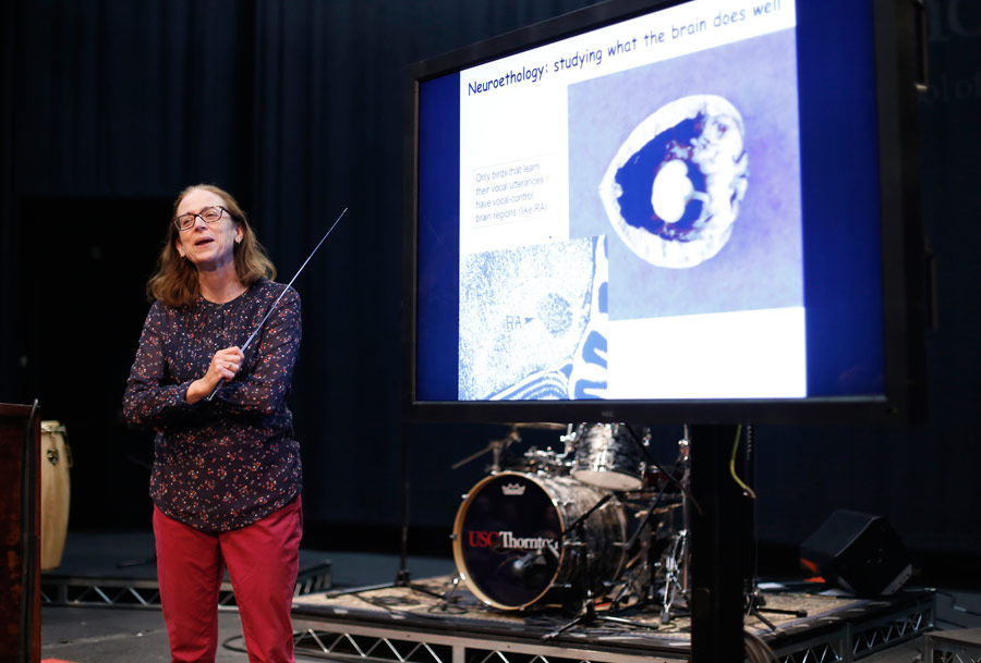 Dr. Sarah W. Bottjer, USC Neurobiology, USC Biological Sciences, presented at the Hearing Health Forum. (Photo/Danny Wirick)