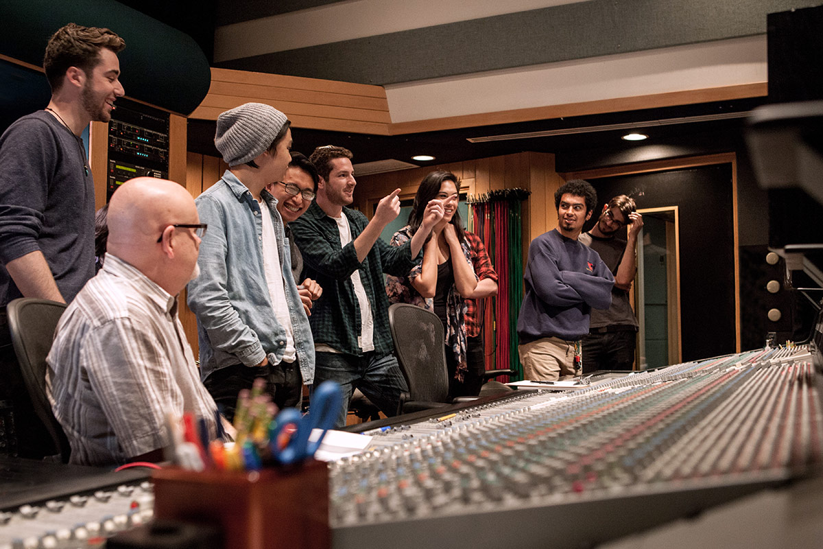a group of Popular Music students visit a recording session at Henson Studios
