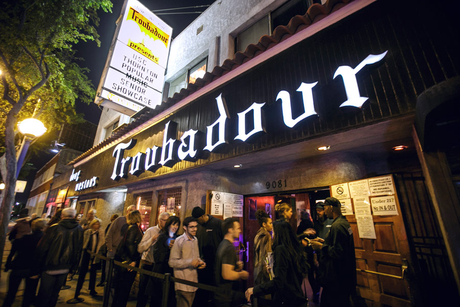 A crowd gathers outside of the legendary Troubadour in West Hollywood. (USC Photo/David Sprague)