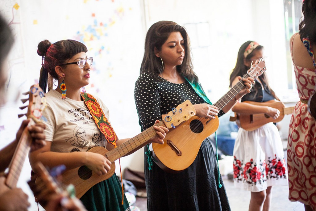 Collective member Alejandra Ocasio has been studying the jarana for four years, while Laura Zavala has played for three. (Photo by Michael Becerra/Elefante Collective)