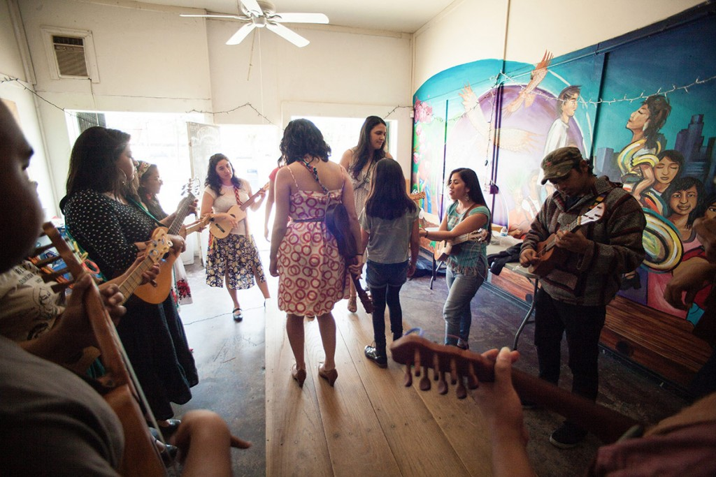 The mural that adorns the wall of the Eastside Café portrays a fandango, much like the one that Flores leads each Saturday. (Photo by Michael Becerra/Elefante Collective)