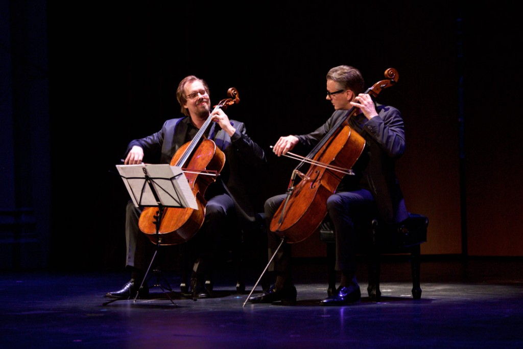 On May 15, 2016, German master cellists Jens Peter Maintz (left) and Wolfgang Emanuel Schmidt (right) performed as Cello Duello in the Opening Gala Concert of the Piatigorsky International Cello Festival in USC's Bovard Auditorium. (Photo by Dario Griffin)