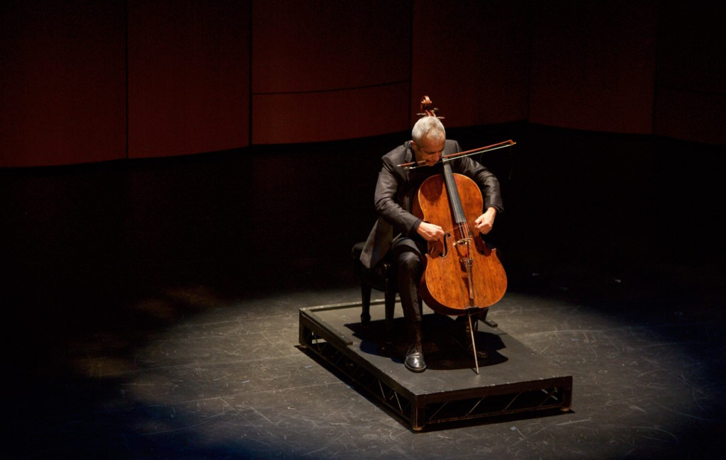Composer and renowned master of improvisation, Giovanni Sollima, performed an improvisational solo in the Opening Gala Concert of the Piatigorsky International Cello Festival in USC's Bovard Auditorium. (Photo by Dario Griffin)