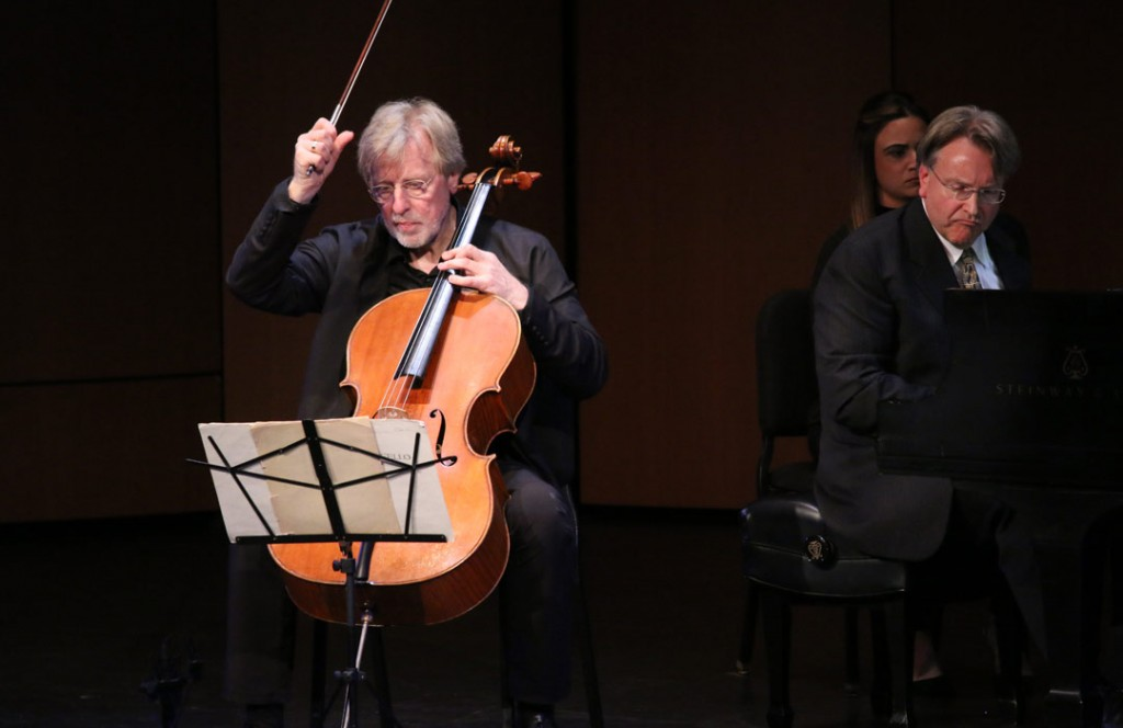 Cellist Frans Helmerson performs in an Evening Recital with USC Thornton faculty member Kevin Fitz-Gerald in this May 16th photo from USC's Bovard Auditorium. (Photo by Daniel Anderson/USC)