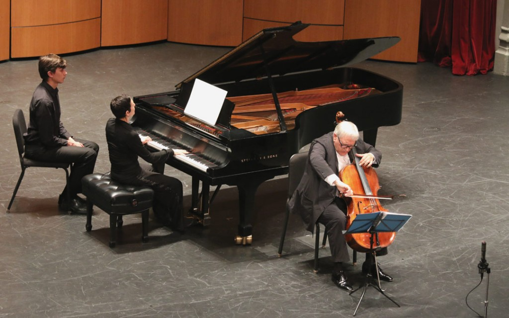 The May 18 Evening Recital at USC's Bovard Auditorium featured cellist David Geringas and pianist Rina Dokshitsky performing Schnittke's Cello Sonata No. 1. (Photo by Daniel Anderson/USC)