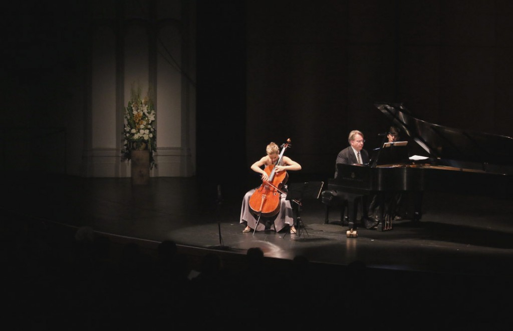 "Cellist Sol Gabetta and pianist Kevin Fitz-Gerald were featured at the May 18 Evening Recital, performing Chopin's Sonata in G minor, Op. 65 and his ""Grand Duo Concertant,"" Op. 16a. (Photo by Daniel Anderson/USC)"