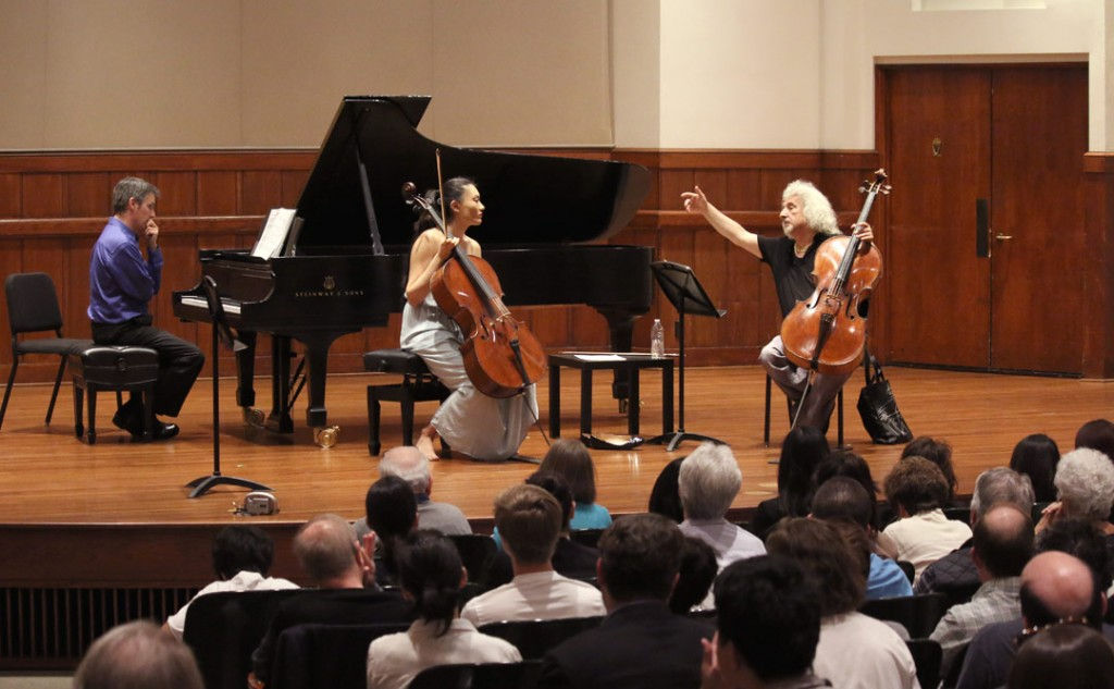 On May 18, Latvian-born Israeli cellist Mischa Maisky led a master class at USC's Alfred Newman Recital Hall. (Photo by Daniel Anderson/USC)