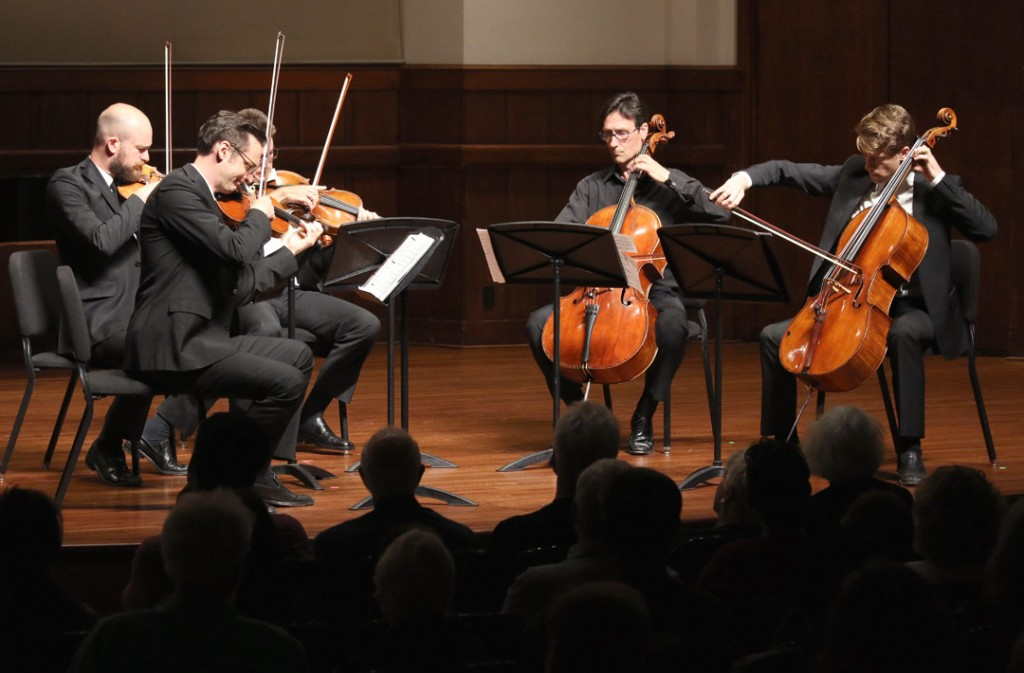 The Calder Quartet, which was formed at USC Thornton, performed with cellist Antonio Lysy at the May 18 Quintet+ concert. (Photo by Daniel Anderson/USC)