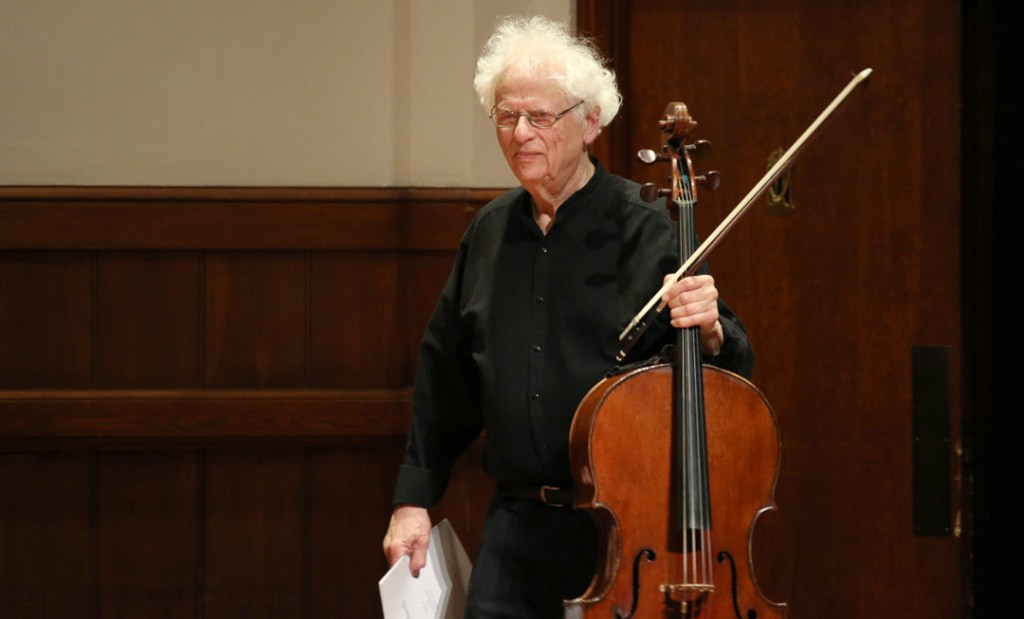 Cellist Laurence Lesser performed Bach's Suite No. 5 in C minor, BWV 1011 (lute version) at the May 18 Quintet+ concert. (Photo by Daniel Anderson/USC)