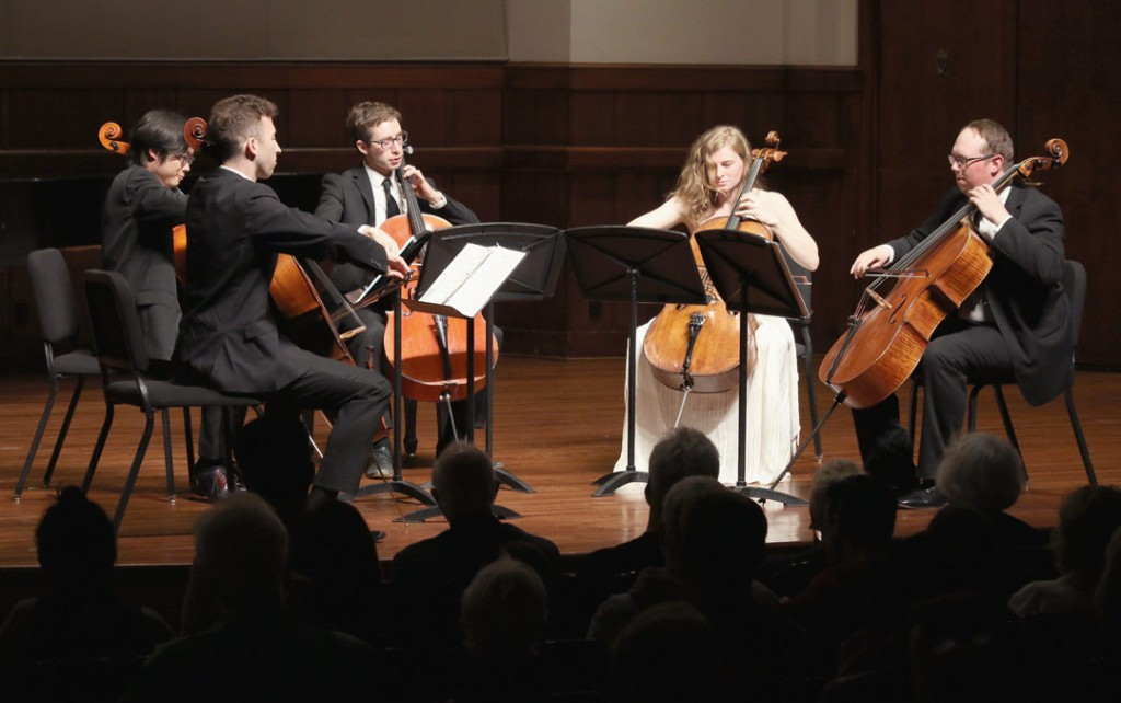 The SAKURA cello quintet, which is made up of USC Thornton students, performed at the May 18 Quintet+ concert. (Photo by Daniel Anderson/USC)