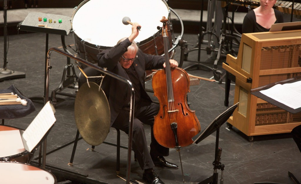 "On May 19, cellist David Geringas performed Sofia Gubaidulina's ""Canticle of the Sun"" with the USC Thornton Chamber Singers, under conductor Uriel Segal at USC's Bovard Auditorium. (Photo by Dario Griffin/USC)"