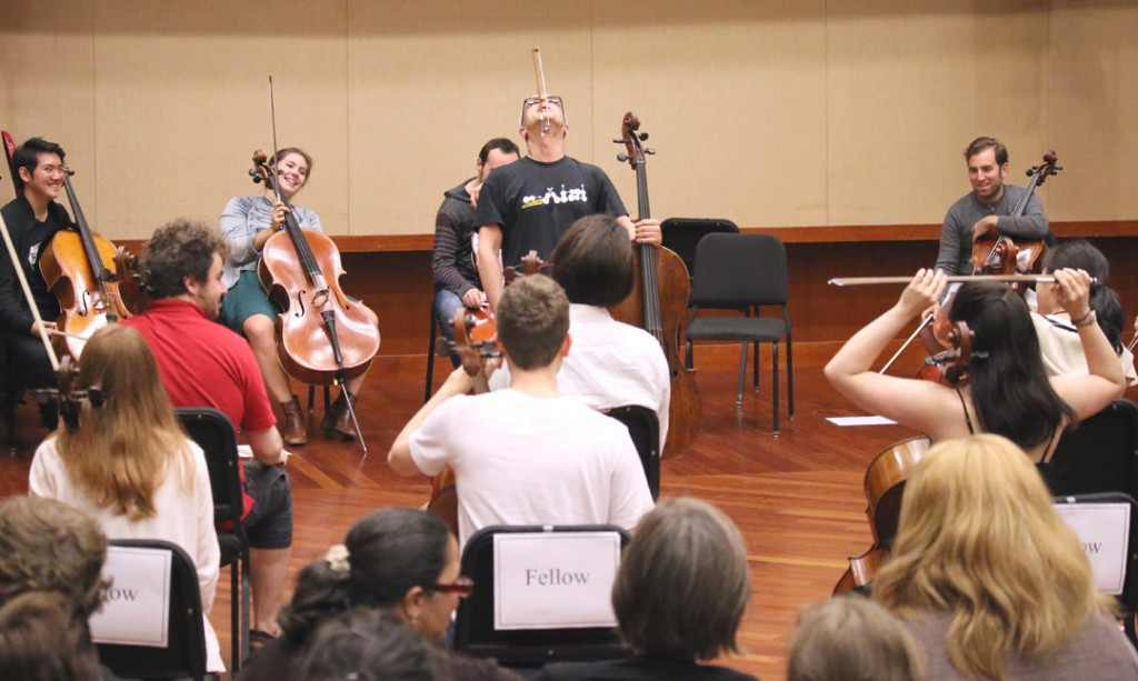 Italian cellist Giovanni Sollima led an energetic workshop in musical improvisation for student Fellows of the Piatigorsky International Cello Festival on May 19 at USC's Schoenfeld Symphonic Hall. (Photo by Daniel Anderson/USC)