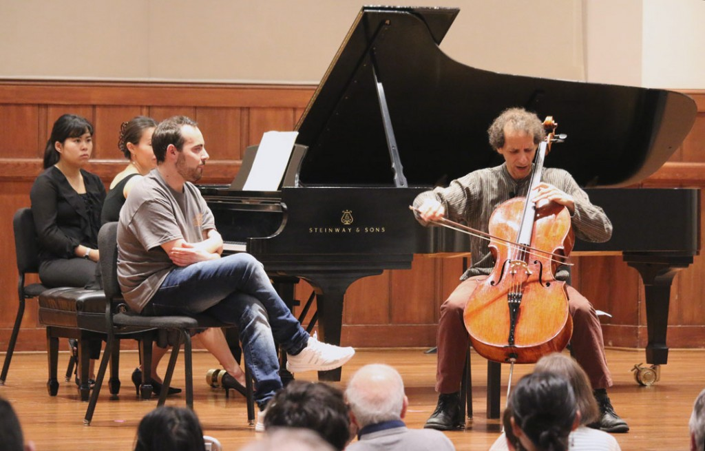 British cellist Colin Carr presented a Master Class on May 20th at USC's Alfred Newman Recital Hall. (Photo by Scott Rieker/USC)