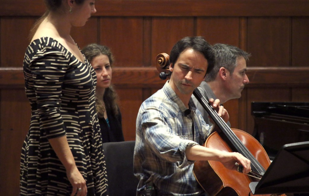 French-Canadian cellist Jean-Guihen Queyras led a Master Class on May 20th at USC's Alfred Newman Recital Hall. (Photo by Daniel Anderson/USC)