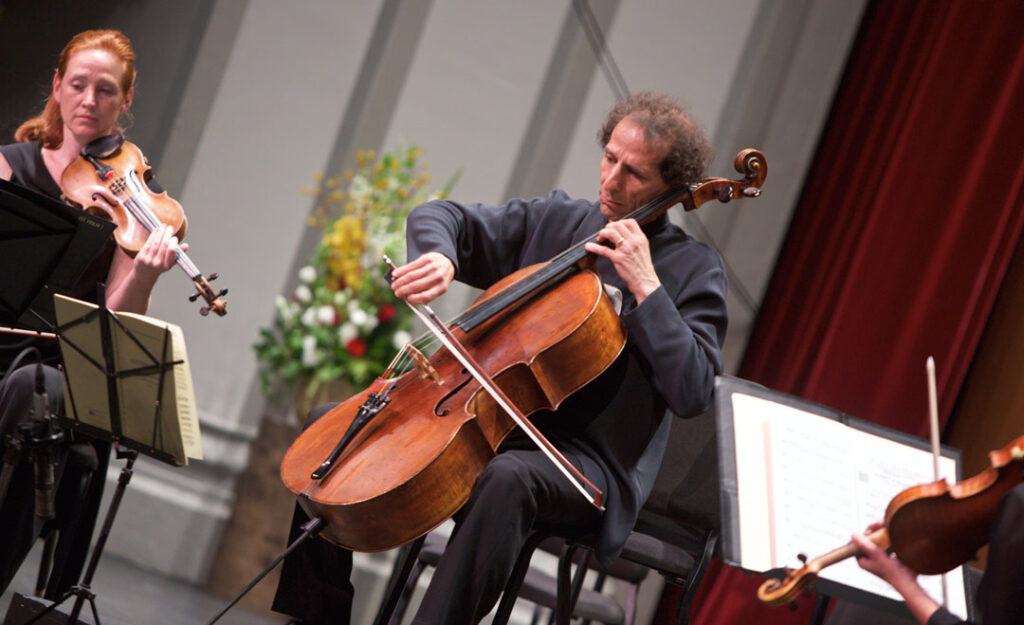 Cellist Colin Carr performed Vivaldi's Concerto in C minor, RV 401 with the Los Angeles Chamber Orchestra at USC's Bovard Auditorium on May 21st. (Photo by Dario Griffin/USC)
