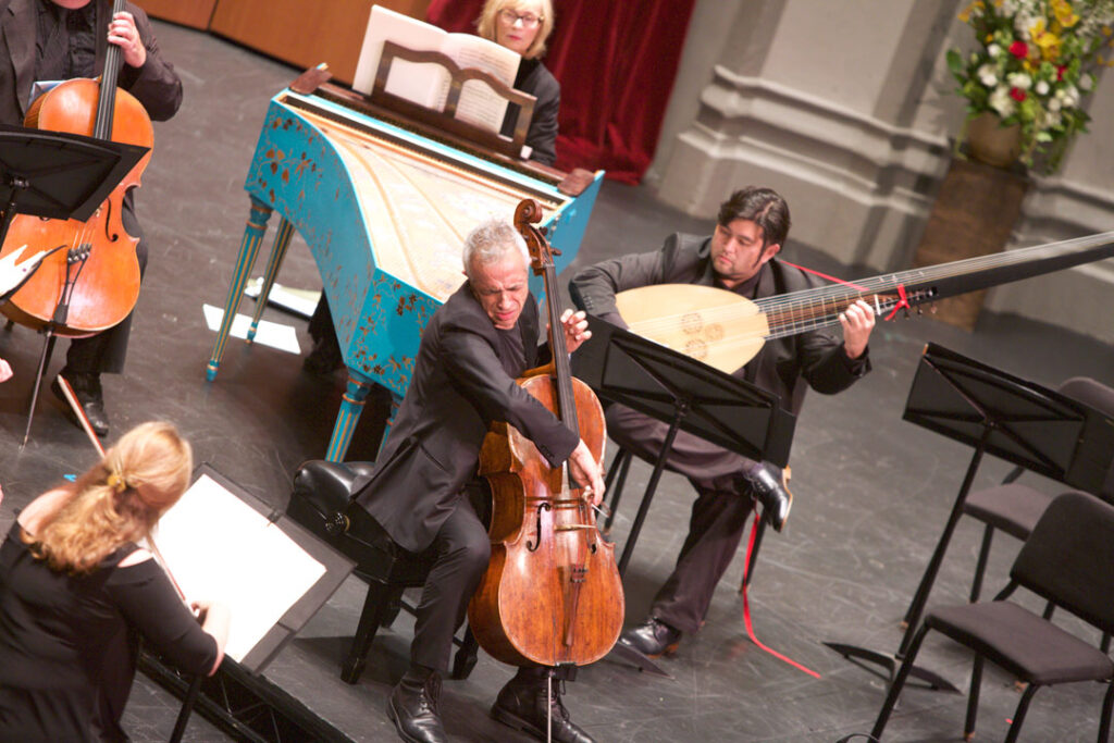 Italian cellist Giovanni Sollima performed Leo's Concerto No. 3 in D minor, L. 60 with the Los Angeles Chamber Orchestra on May 21st. (Photo by Dario Griffin/USC)