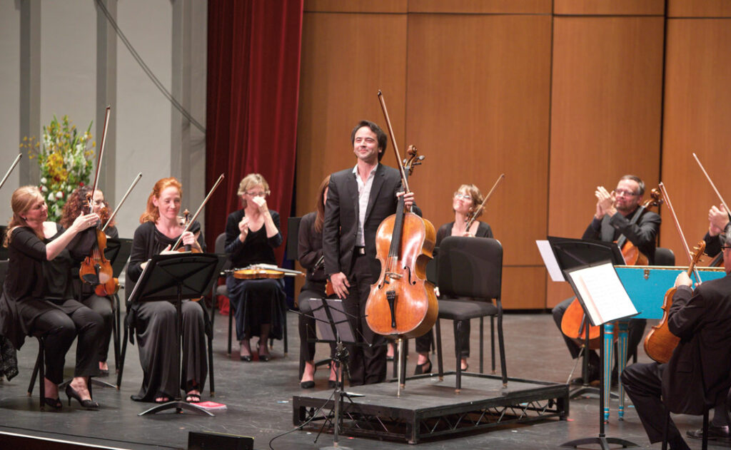 Cellist Jean-Guihen Queyras led the Los Angeles Chamber Orchestra in concerti by Platti and C.P.E. Bach on May 21st at USC's Bovard Auditorium. (Photo by Dario Griffin/USC)