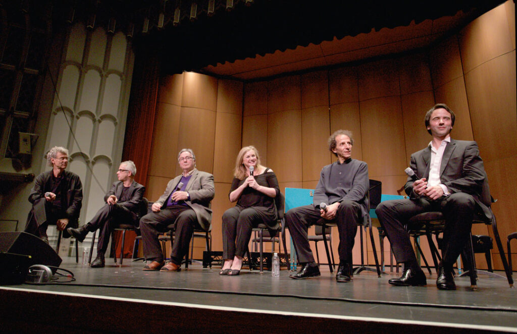 "Following the May 21st Baroque Conversations concert with the Los Angeles Chamber Orchestra, soloists Jean-Guihen Queyras, Colin Carr, Thomas Demenga, and Giovanni Sollima, along with Festival artistic director Ralph Kirshbaum and LACO concertmaster Margaret Batjer, presented a ""Q&A"" session. (Photo by Dario Griffin/USC)"