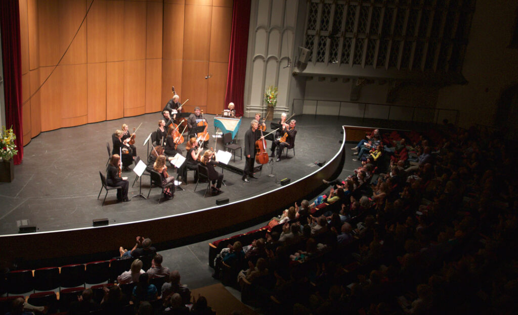 On May 21st, cellist Thomas Demenga led the Los Angeles Chamber Orchestra in Boccherini's Concerto in G major, G. 480, at USC's Bovard Auditorium. (Photo by Dario Griffin/USC)