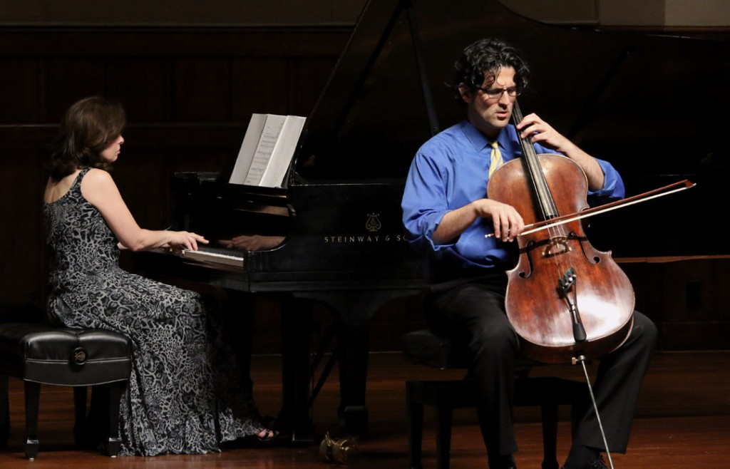 Amit Peled presented a Lunch Concert with pianist Noreen Polera on May 21st. (Photo by Scott Rieker/USC)
