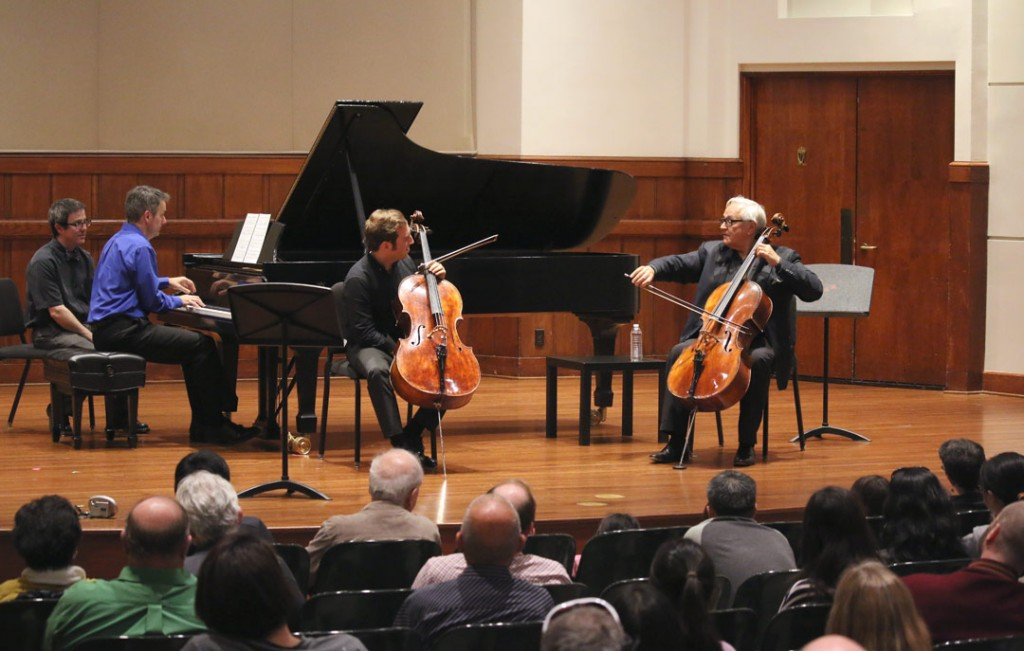 Cellist David Geringas presented a master class at USC's Alfred Newman Recital Hall on May 21st. (Photo by Daniel Anderson/USC)