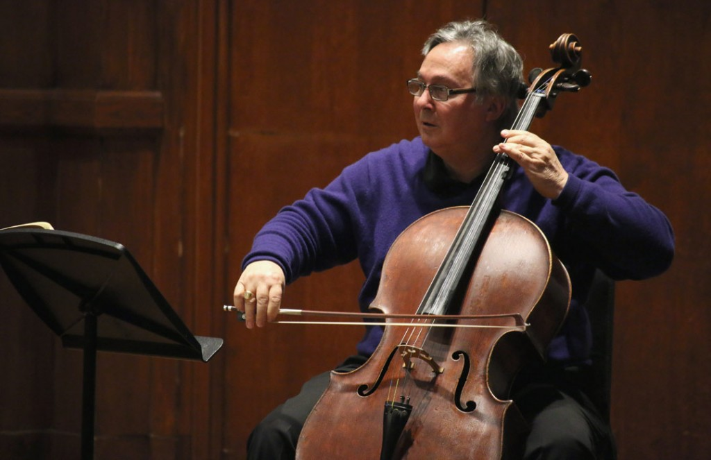 Ralph Kirshbaum, artistic director of the Piatigorsky International Cello Festival and chair of the USC Thornton Strings department, presented a master class on May 21st. (Photo by Daniel Anderson/USC)