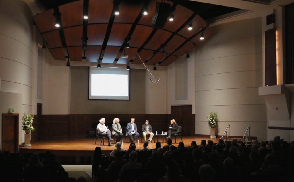 On May 21st, four of Piatigorsky's former students—Laurence Lesser, Mischa Maisky, Jeffrey Solow, and Raphael Wallfisch—celebrated their great teacher in a panel discussion, hosted by KUSC executive producer Gail Eichenthal. (Photo by Daniel Anderson/USC)