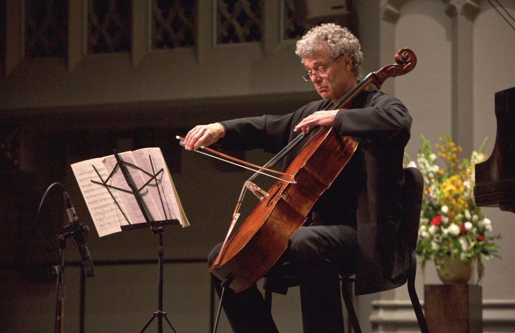 At the closing concert of the 2016 Piatigorsky International Cello Festival on May 22nd, cellist Thomas Demenga performed Beethoven's Sonata in C Major, Op. 102, No. 1 with pianist Bernadine Blaha. (Photo by Dario Griffin/USC)