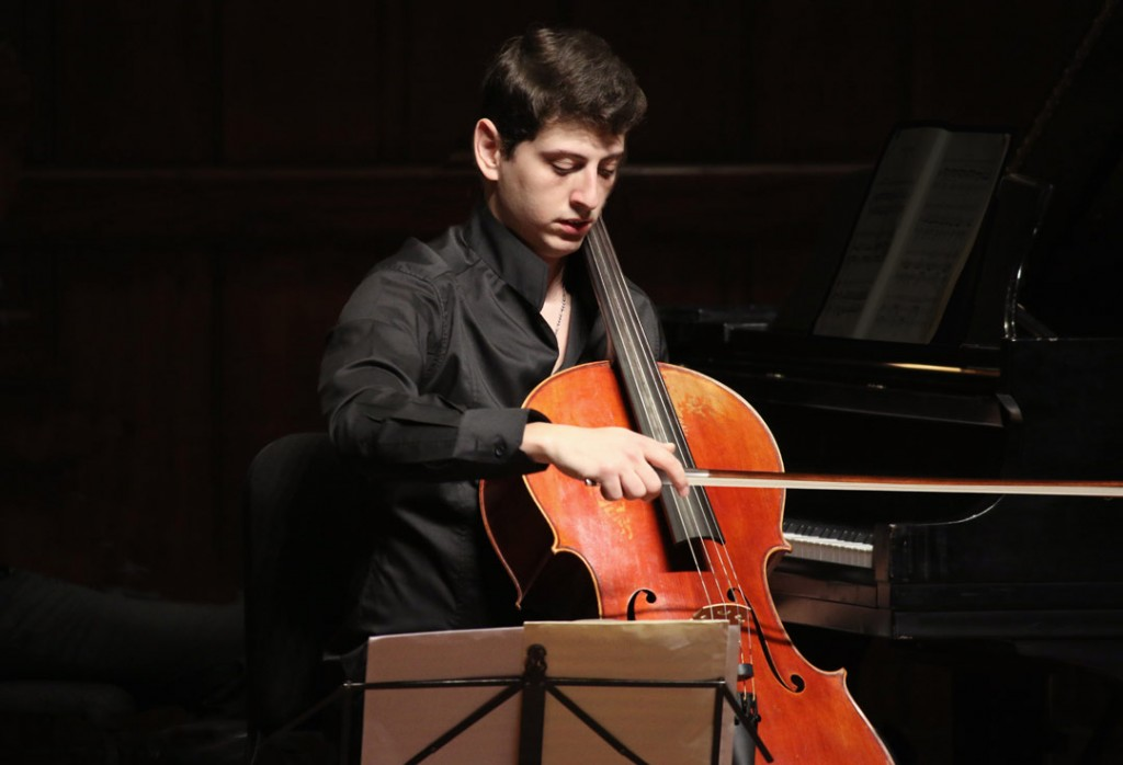 On May 22, Armenian cellist Narek Hakhnazaryan performed in a lunch concert with pianist Noreen Polera at USC's Alfred Newman Recital Hall. (Photo by Daniel Anderson/USC)